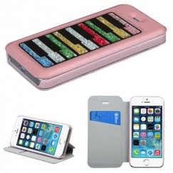 Apple iPhone 5s Pink Wallet with Colorful Beads Inside Rectangles
