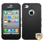 Apple iPhone 4/4s Rubberized Black/Black Hybrid Phone Protector Cover
