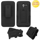 Alcatel Stellar / Tru 5065 Black/Black Advanced Armor Stand Case with Black Holster