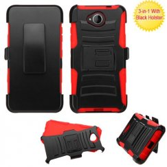 Nokia Lumia 650 Black/Red Advanced Armor Stand Case with Black Holster