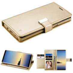Samsung Galaxy Note 8 Gold/Gold PU Leather Wallet with extra card slots