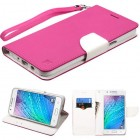 Samsung Galaxy J7 Hot Pink Pattern/White Liner wallet with Lanyard