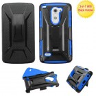 LG G3 Stylus Black/Dark Blue Advanced Armor Stand Protector Cover (With Black Holster)