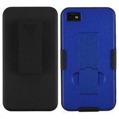 Blackberry Z10 Rubberized Black/Dark Blue Hybrid Holster with Stand