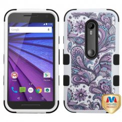 Motorola Moto G Purple European Flowers/Black Hybrid Case Military Grade