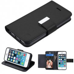 Apple iPhone 5/5s Black/Black PU Leather Wallet with extra card slots