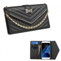 Samsung Galaxy S7 Black Premium Quilted Wallet with Bracelet