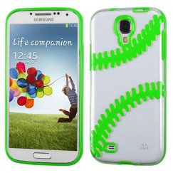 Samsung Galaxy S4 Transparent Clear/Solid Green(Baseball) Gummy Cover