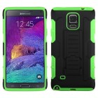 Samsung Galaxy Note 4 Black/Electric Green Car Armor Stand Case - Rubberized