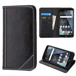 LG G Stylo 3 Black Genuine Leather Wallet