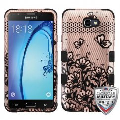 Samsung Galaxy On7 Black Lace Flowers (2D Rose Gold)/Black Hybrid Case Military Grade