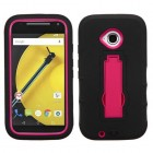 Motorola Moto E 2nd Gen Hot Pink/Black Symbiosis Stand Protector Cover