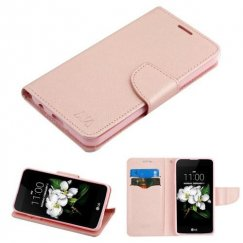 LG K8 Rose Gold Pattern/Rose Gold Liner wallet with card slot