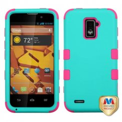 ZTE Warp 4G Rubberized Teal Green/Electric Pink Hybrid Case