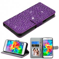 Samsung Galaxy Grand Prime Purple Diamante Wallet