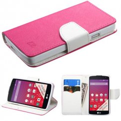 LG Tribute Hot Pink Pattern/White Liner wallet with Card Slot