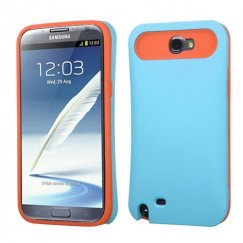 Samsung Galaxy Note 2 Rubberized Baby Blue/Orange Card Wallet Back Case