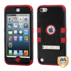Apple iPod Touch (5th Generation) Natural Black/Red Hybrid Case with Stand