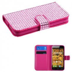Alcatel One Touch Fierce Pink Diamonds Book-Style Wallet with Card Slot