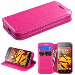 Kyocera Hydro Life / Hydro Icon Hot Pink Wallet with Tray
