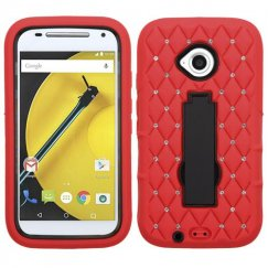 Motorola Moto E 2nd Gen Black/Red Symbiosis Stand Case with Diamonds