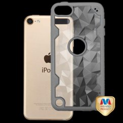 Apple iPod Touch (6th Generation) Transparent Clear Polygon/Iron Gray Challenger Hybrid Case