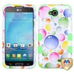 LG Optimus L90 Rainbow Bigger Bubbles/Electric Green Hybrid Case