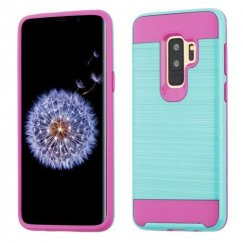 Samsung Galaxy S9 Plus Teal Green/Hot Pink Brushed Hybrid Case