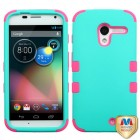 Motorola Moto X Rubberized Teal Green/Electric Pink Hybrid Case