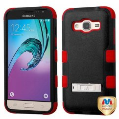 Samsung Galaxy J3 Natural Black/Red Hybrid Case with Stand