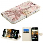 Alcatel One Touch Conquest Eiffel Tower Diamante Wallet(with Diamante Belt)