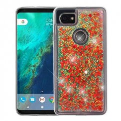 Google Pixel 2 XL Hearts & Red Quicksand Glitter Hybrid Case