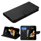 LG G Stylus 2 Black Pattern/Black Liner wallet (with card slot)