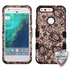 Google Pixel XL Black Four-Leaf Clover (2D Rose Gold)/Black Hybrid Case - Military Grade
