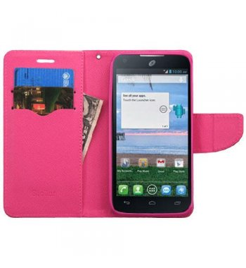 Alcatel Stellar / Tru 5065 Pink Pattern/Hot Pink Liner Wallet with Card Slot