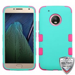 Motorola Moto G5 Plus Rubberized Teal Green/Electric Pink Hybrid Case Military Grade