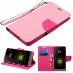 LG G5 Pink Pattern/Hot Pink Liner Wallet with Lanyard