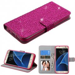 Samsung Galaxy S7 Edge Hot Pink Diamante Wallet