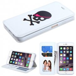 Apple iPhone 6/6s Plus Big Skull/White Wallet
