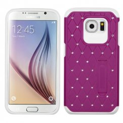Samsung Galaxy S6 Hot Pink/White Luxurious Lattice Elite Dazzling Stand Hybird Case with Diamonds