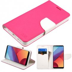 LG G6 Hot Pink Pattern/White Liner wallet with Card Slot