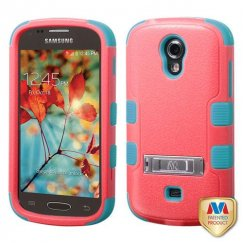 Samsung Galaxy Light Natural Baby Red/Tropical Teal Hybrid Case with Stand