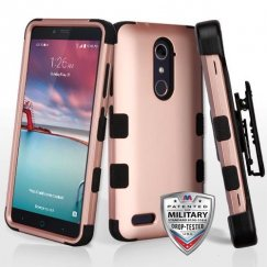 ZTE Grand X Max 2 Rose Gold/Black Hybrid Phone Case Military Grade with Black Horizontal Holster