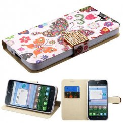 Alcatel Stellar / Tru 5065 Butterfly Wonderland Diamante Wallet with Diamante Belt