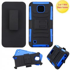 LG X Cam K580 Black/Dark Blue Advanced Armor Stand Case with Black Holster