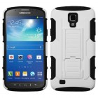 Samsung Galaxy S4 Active SGH-i537 White/Black Car Armor Stand Case - Rubberized
