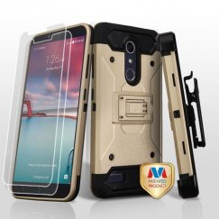 ZTE Grand X Max 2 Gold/Black 3-in-1 Case Combo with Black Holster with Twin Screen Protectors