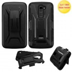 LG K10 Black/Black Advanced Armor Stand Protector Cover (With Black Holster)