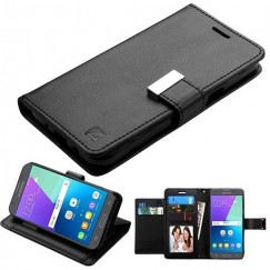 Samsung Galaxy J3 Black/Black PU Leather Wallet with extra card slots (GE031) -WP