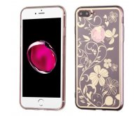 Apple iPhone 7 Plus Phoenix-tail Flowers Electroplating (Brown)/Transparent Clear Gummy Cover